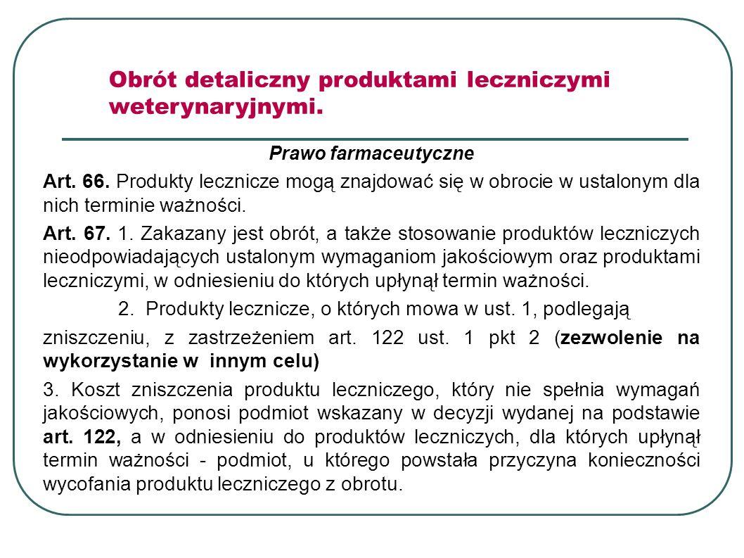 Prawo farmaceutyczne Art. 66. Produkty lecznicze mogą znajdować się w obrocie w ustalonym dla nich terminie ważności. Art. 67. 1. Zakazany jest obrót,