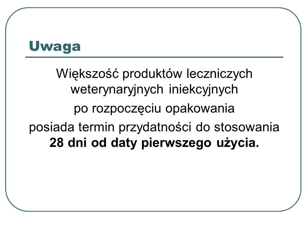 Uwaga Większość produktów leczniczych weterynaryjnych iniekcyjnych po rozpoczęciu opakowania posiada termin przydatności do stosowania 28 dni od daty