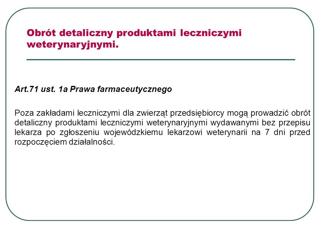 Art.71 ust. 1a Prawa farmaceutycznego Poza zakładami leczniczymi dla zwierząt przedsiębiorcy mogą prowadzić obrót detaliczny produktami leczniczymi we