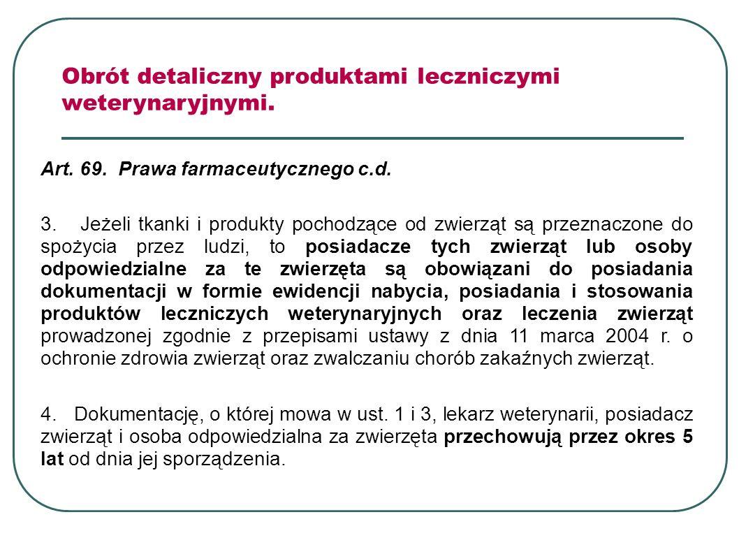 Obrót detaliczny produktami leczniczymi weterynaryjnymi. Art. 69. Prawa farmaceutycznego c.d. 3. Jeżeli tkanki i produkty pochodzące od zwierząt są pr