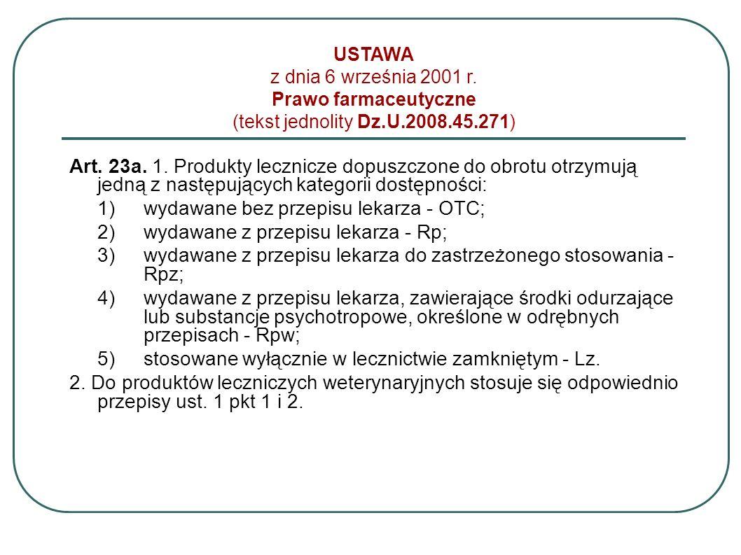 USTAWA z dnia 6 września 2001 r. Prawo farmaceutyczne (tekst jednolity Dz.U.2008.45.271) Art. 23a. 1. Produkty lecznicze dopuszczone do obrotu otrzymu
