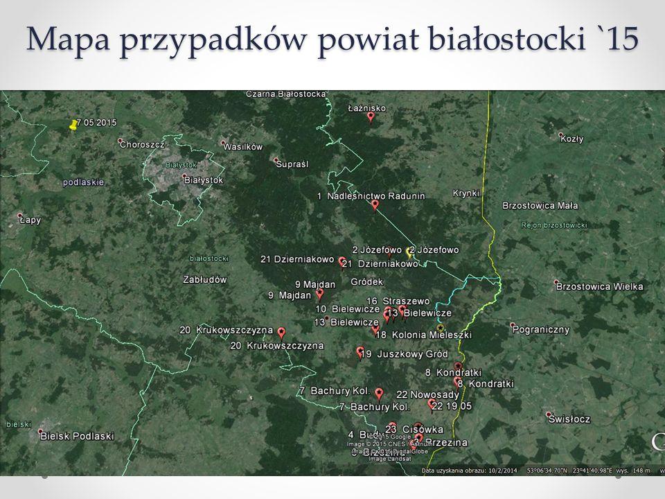 Mapa przypadków powiat białostocki `15