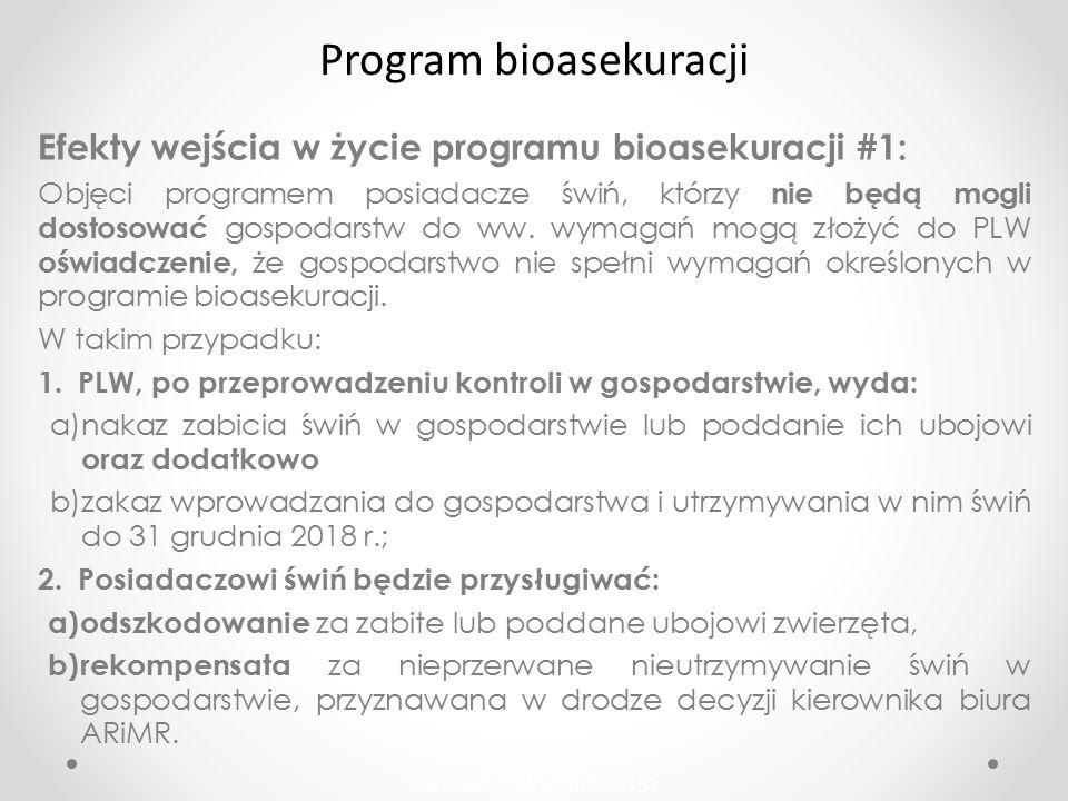 Efekty wejścia w życie programu bioasekuracji #1: Objęci programem posiadacze świń, którzy nie będą mogli dostosować gospodarstw do ww.