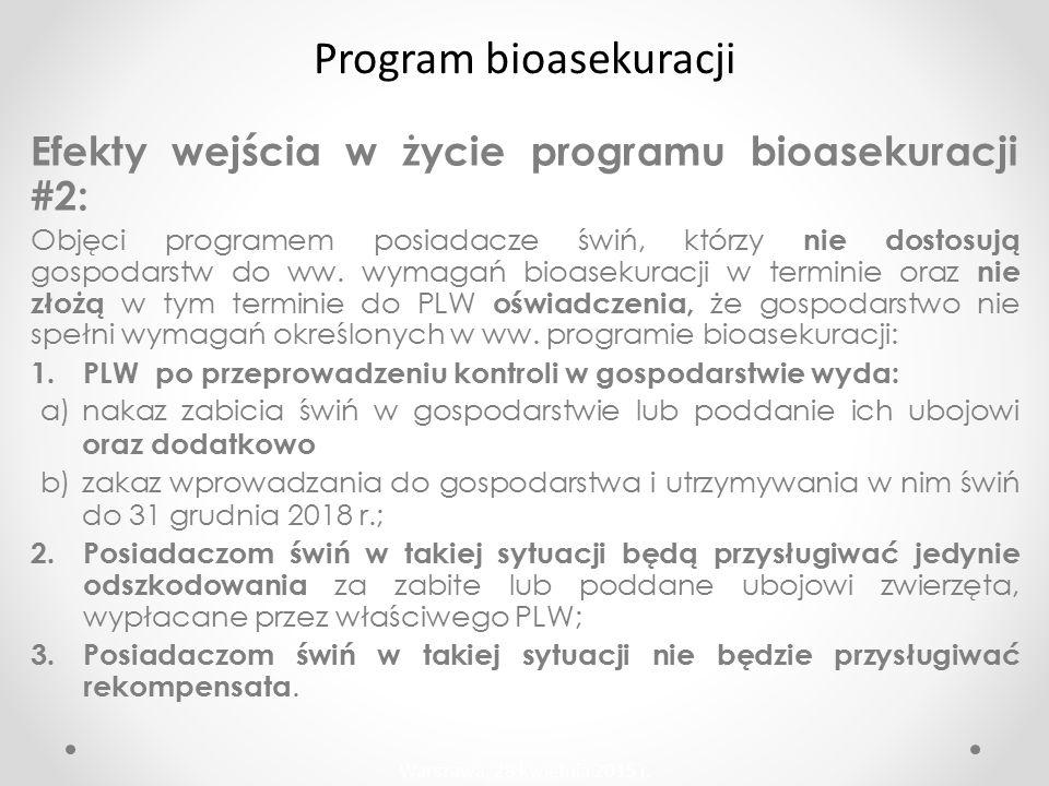 Efekty wejścia w życie programu bioasekuracji #2: Objęci programem posiadacze świń, którzy nie dostosują gospodarstw do ww.
