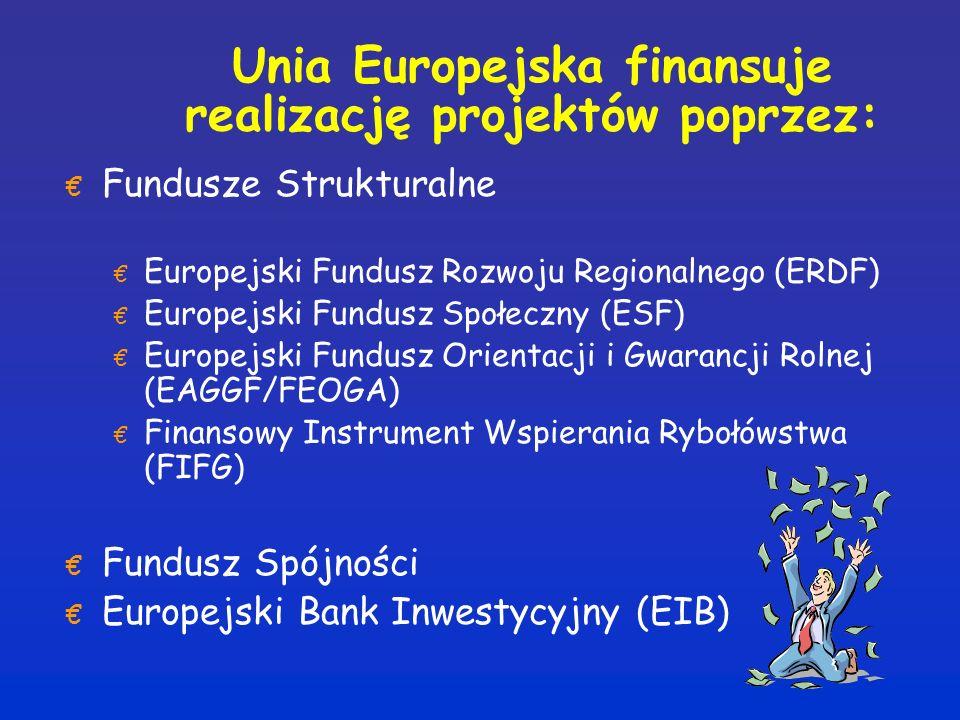 Unia Europejska finansuje realizację projektów poprzez: € Fundusze Strukturalne € Europejski Fundusz Rozwoju Regionalnego (ERDF) € Europejski Fundusz Społeczny (ESF) € Europejski Fundusz Orientacji i Gwarancji Rolnej (EAGGF/FEOGA) € Finansowy Instrument Wspierania Rybołówstwa (FIFG) € Fundusz Spójności € Europejski Bank Inwestycyjny (EIB)