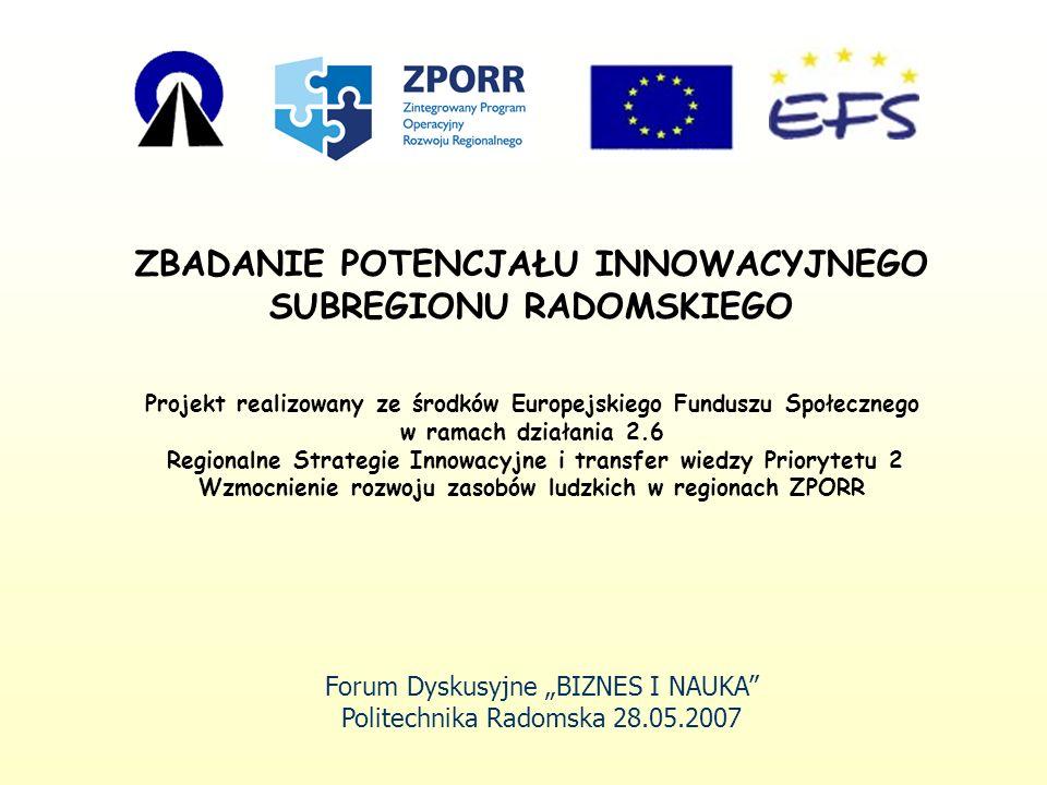 Badane podmioty innowacyjności w regionie przedsiębiorstwa, samorządy lokalne, wyższe uczelnie i instytuty naukowo-badawcze, instytucje otoczenia biznesu.