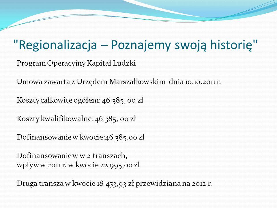 Regionalizacja – Poznajemy swoją historię Program Operacyjny Kapitał Ludzki Umowa zawarta z Urzędem Marszałkowskim dnia 10.10.2011 r.