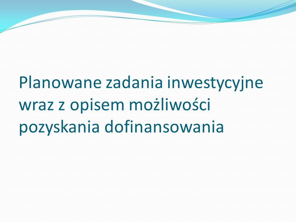Planowane zadania inwestycyjne wraz z opisem możliwości pozyskania dofinansowania