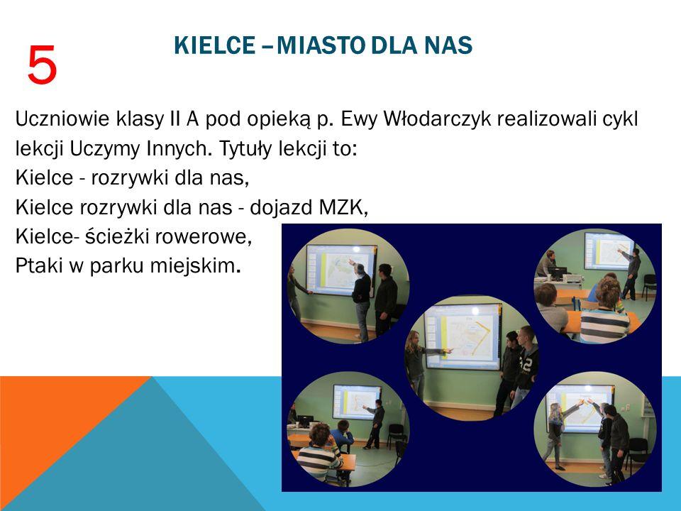 KIELCE –MIASTO DLA NAS Uczniowie klasy II A pod opieką p. Ewy Włodarczyk realizowali cykl lekcji Uczymy Innych. Tytuły lekcji to: Kielce - rozrywki dl