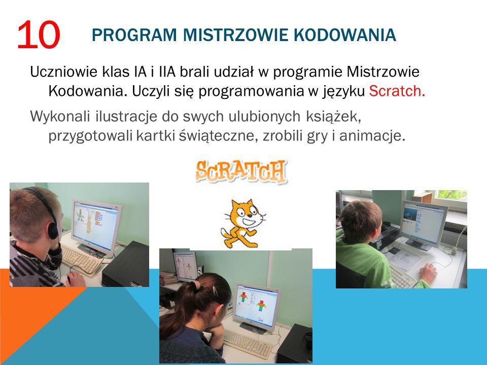PROGRAM MISTRZOWIE KODOWANIA Uczniowie klas IA i IIA brali udział w programie Mistrzowie Kodowania. Uczyli się programowania w języku Scratch. Wykonal