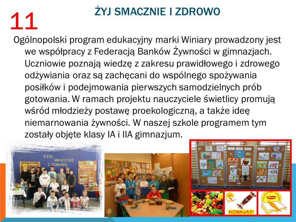 ŻYJ SMACZNIE I ZDROWO Ogólnopolski program edukacyjny marki Winiary prowadzony jest we współpracy z Federacją Banków Żywności w gimnazjach. Uczniowie