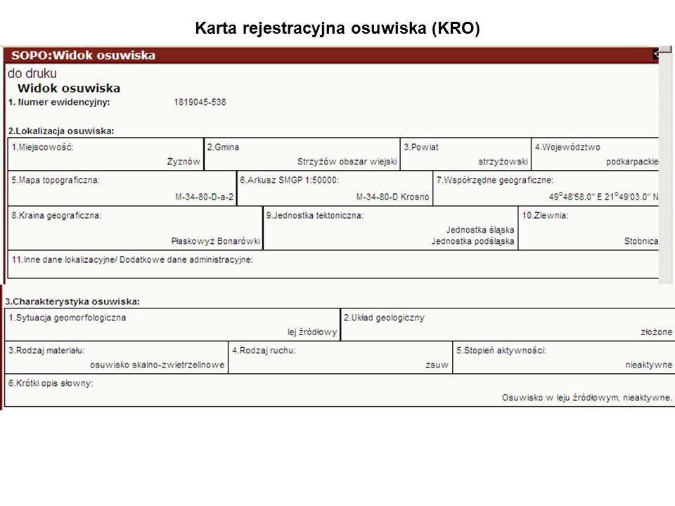 Karta rejestracyjna osuwiska (KRO)