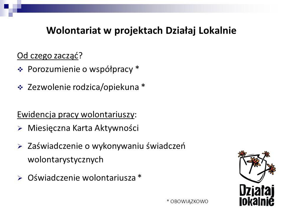 Wolontariat w projektach Działaj Lokalnie Od czego zacząć.