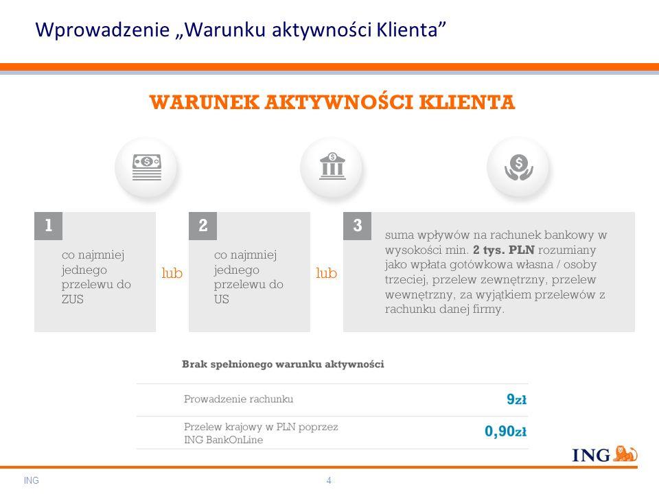 """Do not put content on the brand signature area Orange RGB= 255,102,000 Light blue RGB= 180,195,225 Dark blue RGB= 000,000,102 Grey RGB= 150,150,150 ING colour balance Guideline www.ing-presentations.intranet ING4 Wprowadzenie """"Warunku aktywności Klienta"""