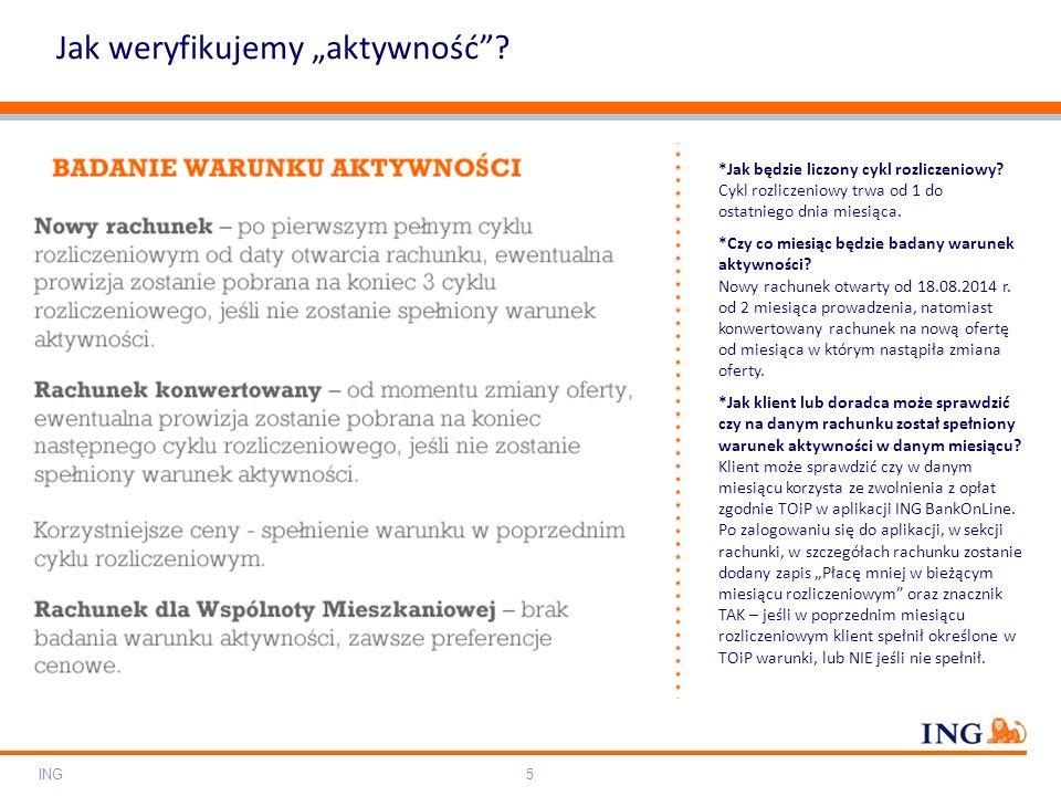 "Do not put content on the brand signature area Orange RGB= 255,102,000 Light blue RGB= 180,195,225 Dark blue RGB= 000,000,102 Grey RGB= 150,150,150 ING colour balance Guideline www.ing-presentations.intranet Jak weryfikujemy ""aktywność ."