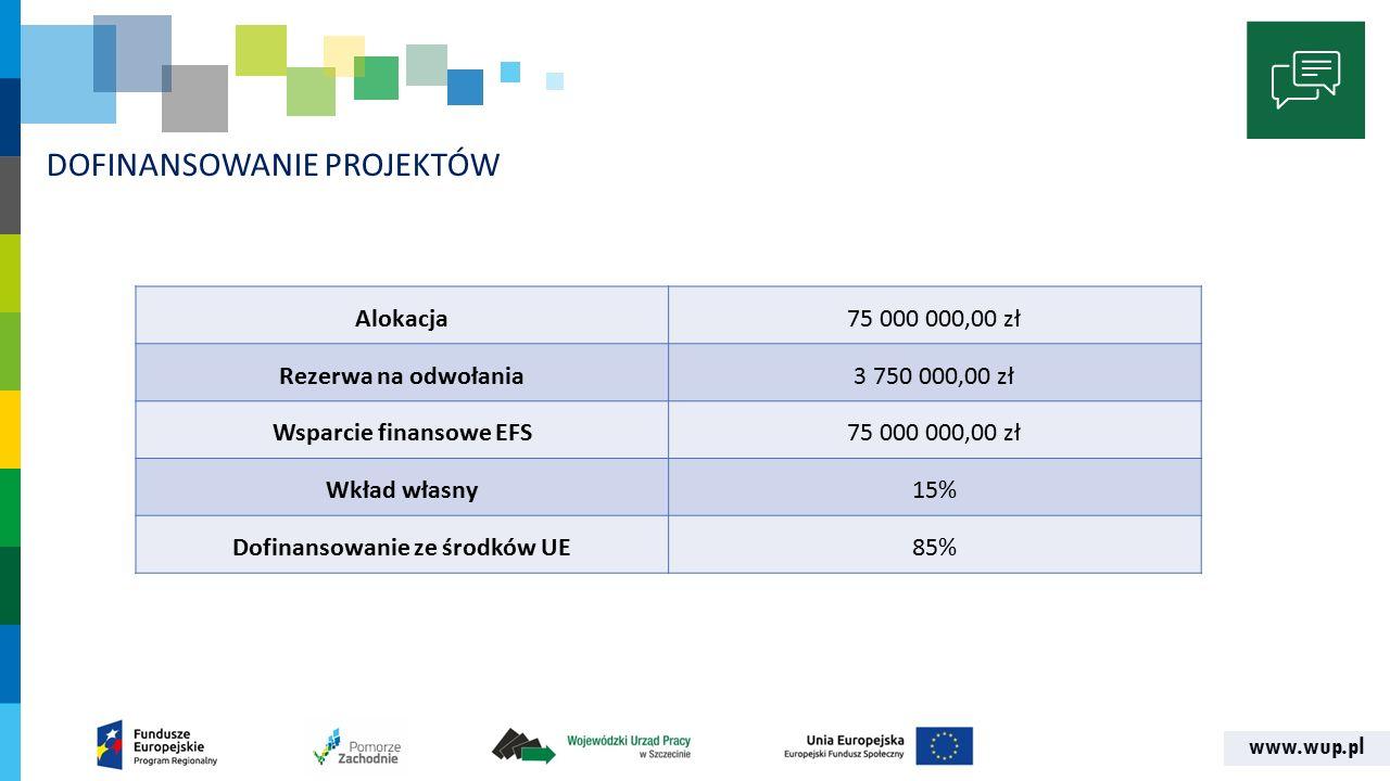 www.wup.pl DOFINANSOWANIE PROJEKTÓW Alokacja75 000 000,00 zł Rezerwa na odwołania3 750 000,00 zł Wsparcie finansowe EFS75 000 000,00 zł Wkład własny15% Dofinansowanie ze środków UE85%