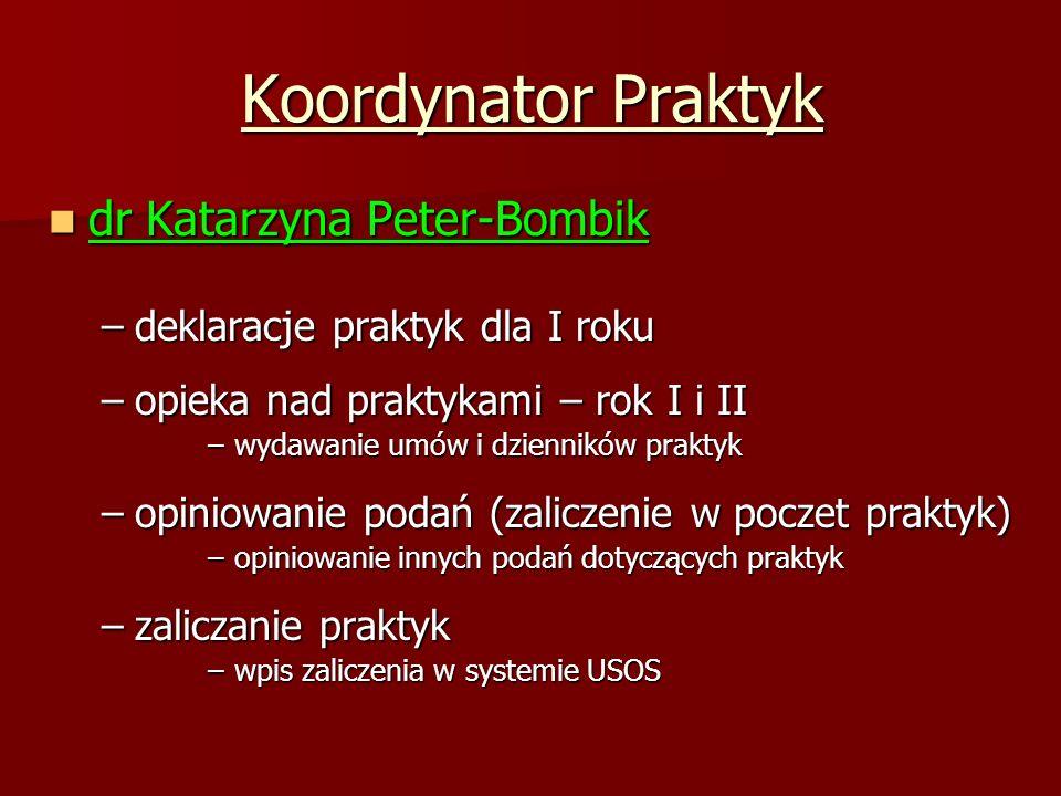 Koordynator Praktyk dr Katarzyna Peter-Bombik dr Katarzyna Peter-Bombik –deklaracje praktyk dla I roku –opieka nad praktykami – rok I i II –wydawanie