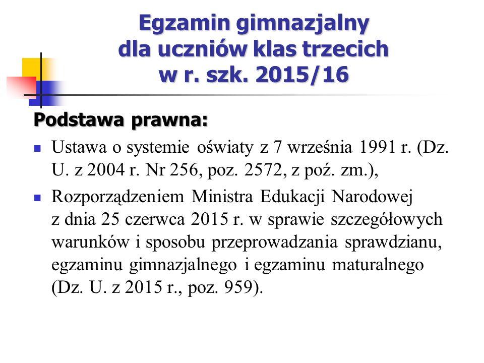 Egzamin gimnazjalny dla uczniów klas trzecich w r.