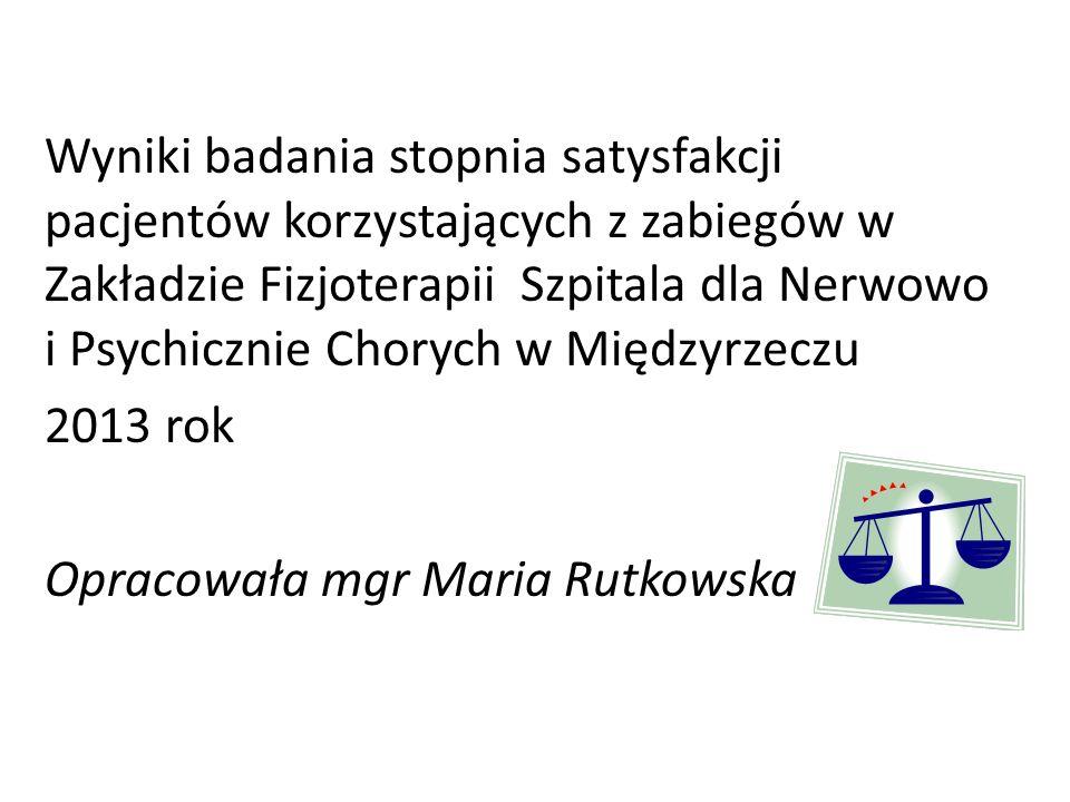 Wyniki badania stopnia satysfakcji pacjentów korzystających z zabiegów w Zakładzie Fizjoterapii Szpitala dla Nerwowo i Psychicznie Chorych w Międzyrzeczu 2013 rok Opracowała mgr Maria Rutkowska