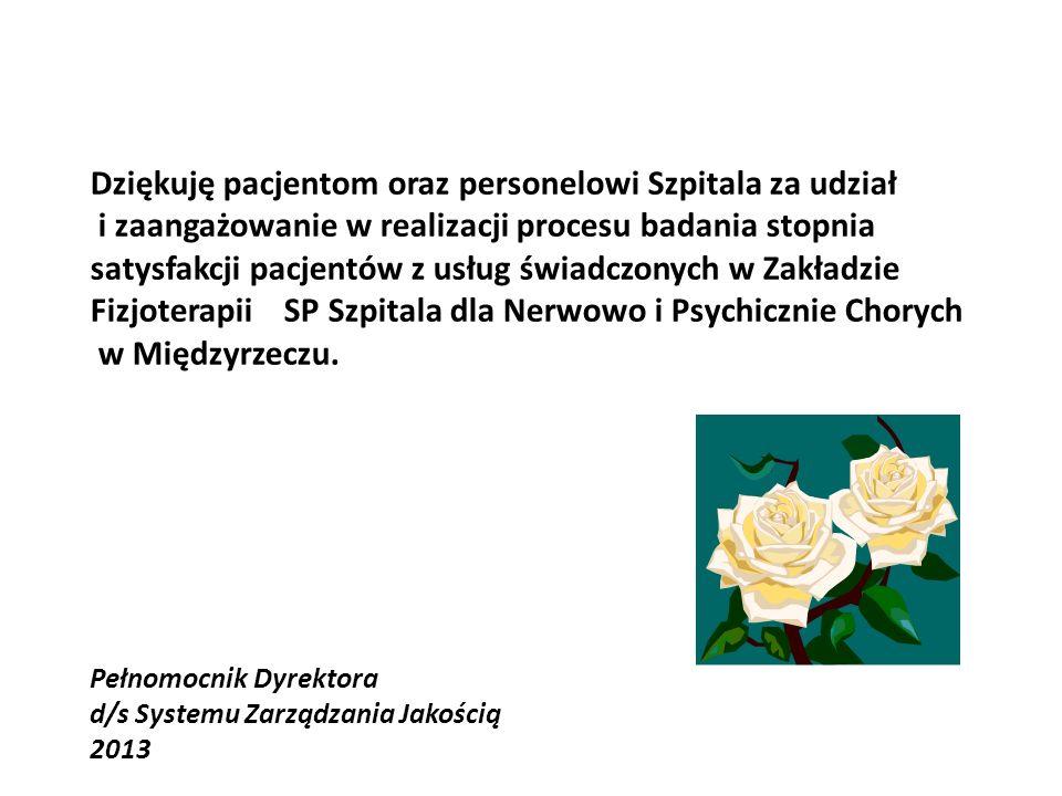 Dziękuję pacjentom oraz personelowi Szpitala za udział i zaangażowanie w realizacji procesu badania stopnia satysfakcji pacjentów z usług świadczonych w Zakładzie Fizjoterapii SP Szpitala dla Nerwowo i Psychicznie Chorych w Międzyrzeczu.
