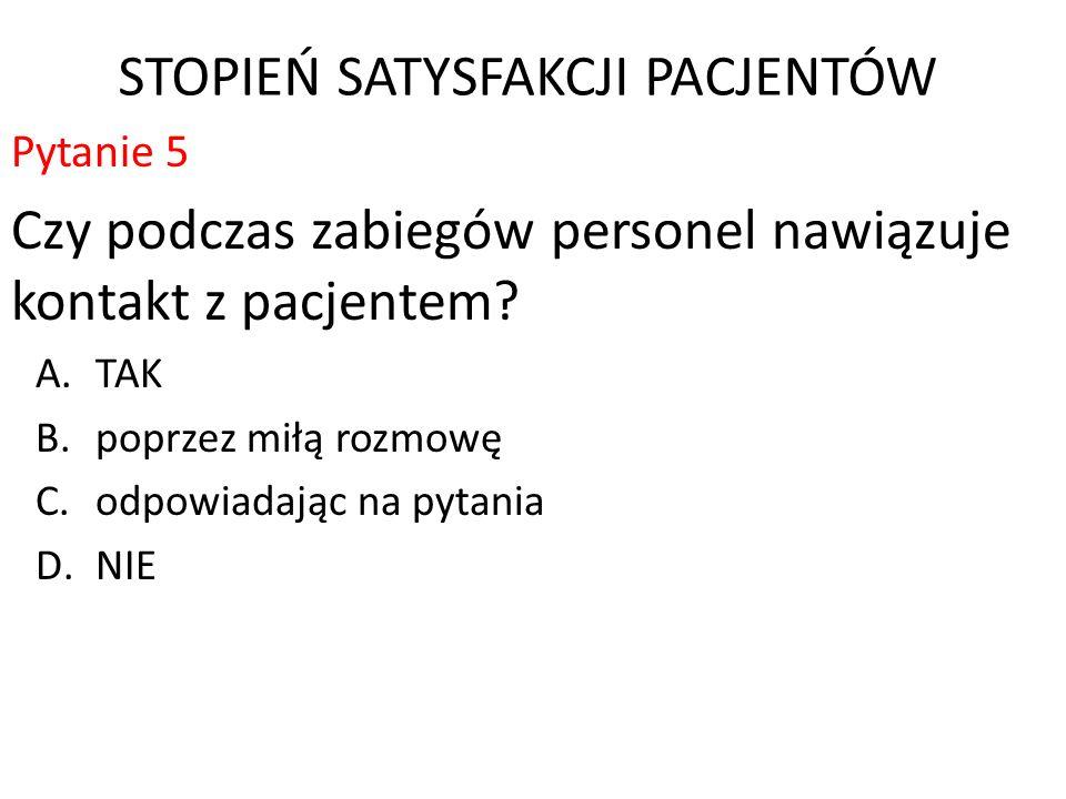 STOPIEŃ SATYSFAKCJI PACJENTÓW Pytanie 5 Czy podczas zabiegów personel nawiązuje kontakt z pacjentem.