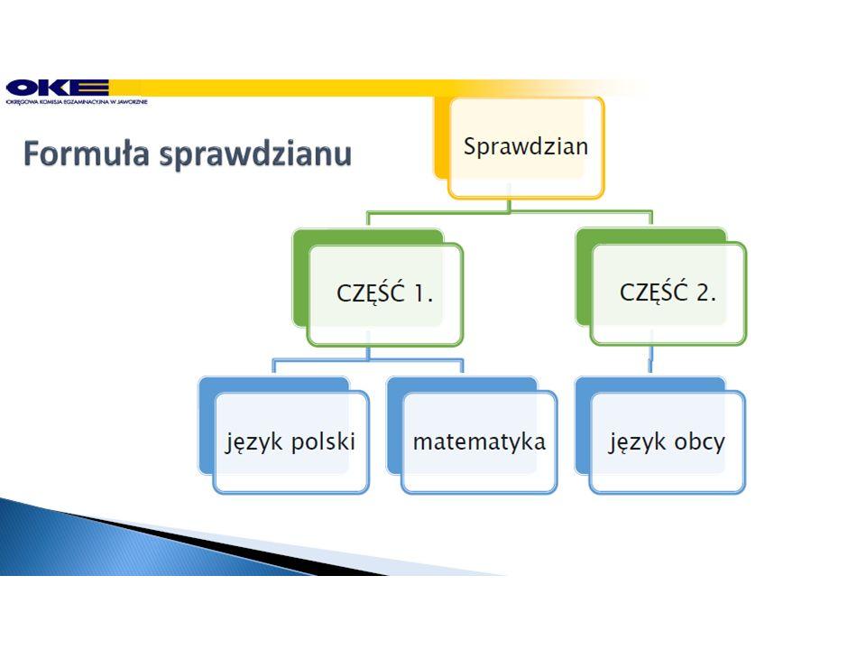Zadania na sprawdzianie Zadania do części pierwszej sprawdzianu z języka polskiego i matematyki tworzą jeden arkusz.