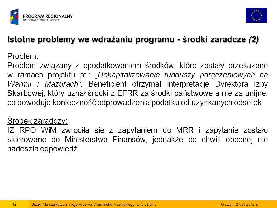 12Urząd Marszałkowski Województwa Warmińsko-Mazurskiego w Olsztynie Olsztyn, 27.09.2012 r.