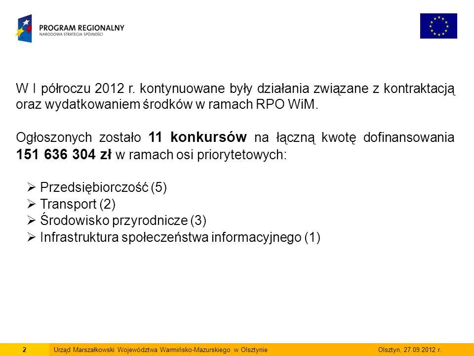 13Urząd Marszałkowski Województwa Warmińsko-Mazurskiego w Olsztynie Olsztyn, 27.09.2012 r.