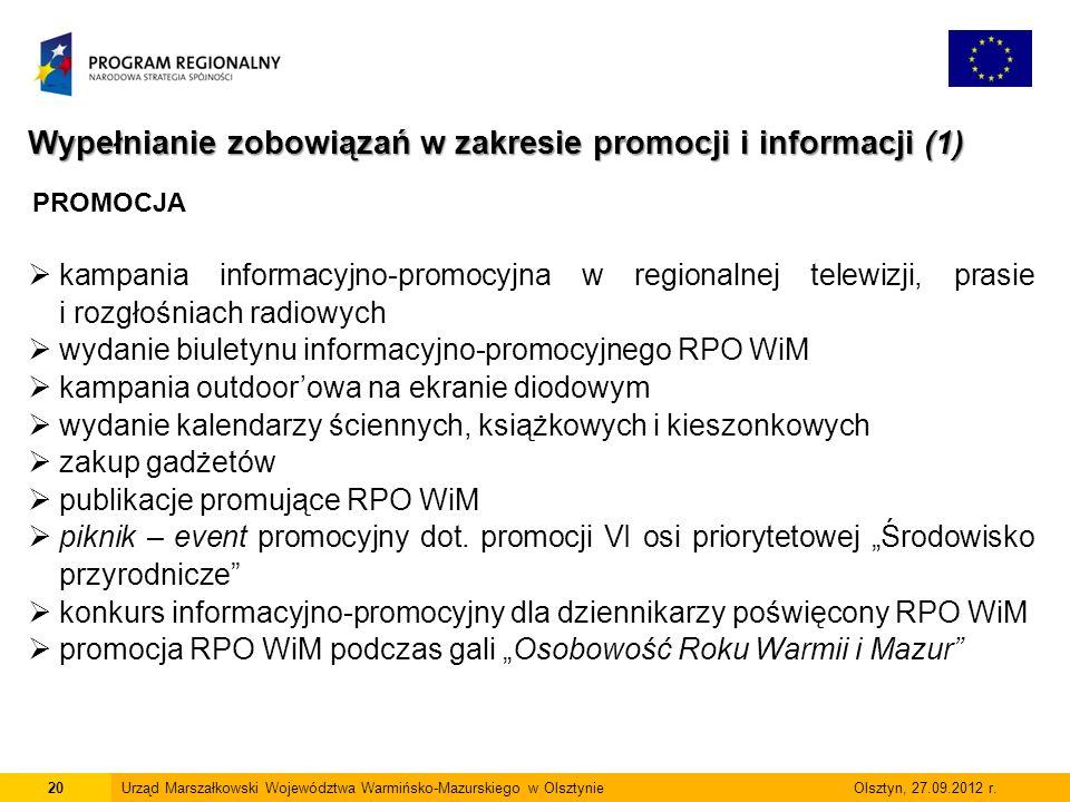 20Urząd Marszałkowski Województwa Warmińsko-Mazurskiego w Olsztynie Olsztyn, 27.09.2012 r.