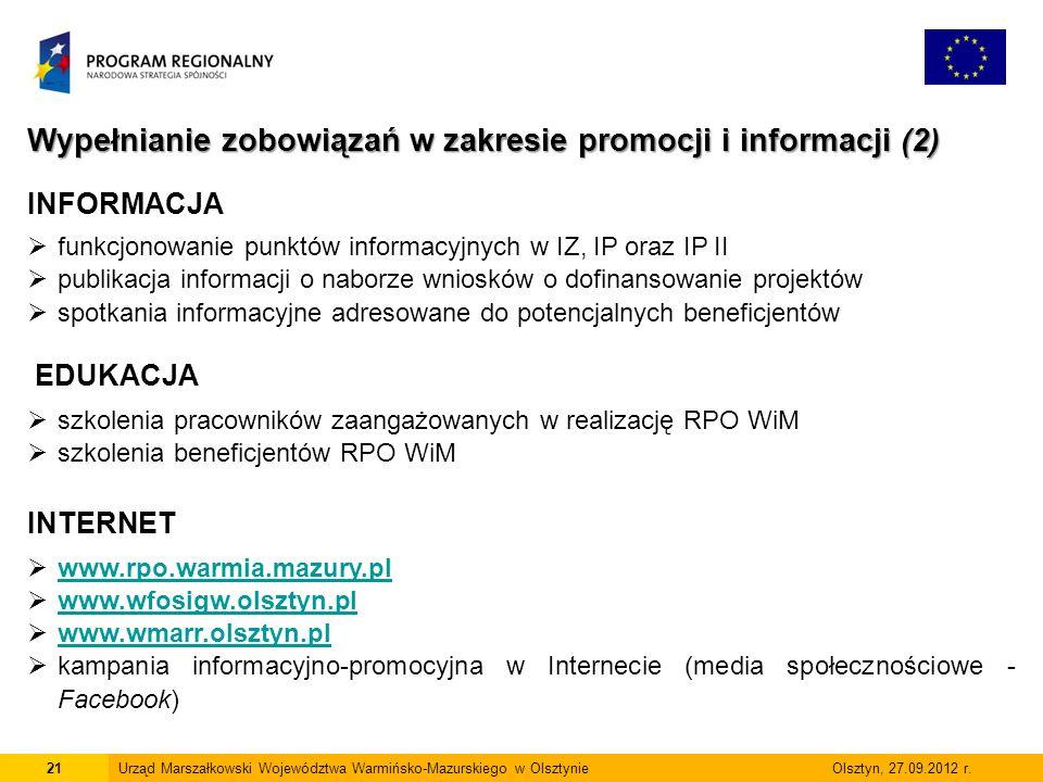21Urząd Marszałkowski Województwa Warmińsko-Mazurskiego w Olsztynie Olsztyn, 27.09.2012 r.