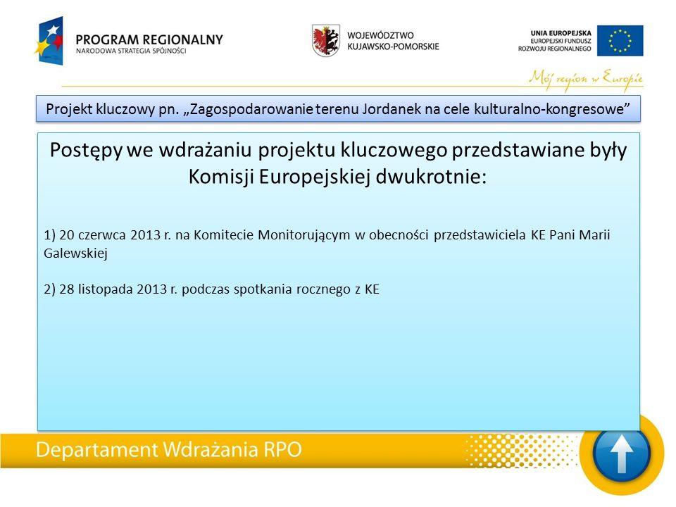 Postępy we wdrażaniu projektu kluczowego przedstawiane były Komisji Europejskiej dwukrotnie: 1) 20 czerwca 2013 r.