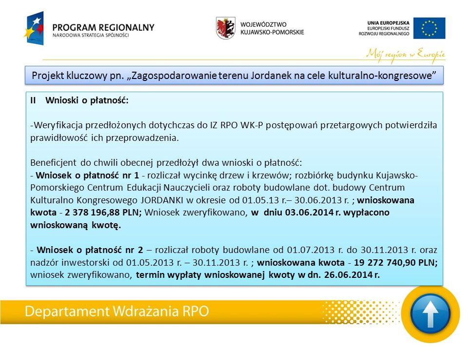 II Wnioski o płatność: -Weryfikacja przedłożonych dotychczas do IZ RPO WK-P postępowań przetargowych potwierdziła prawidłowość ich przeprowadzenia.