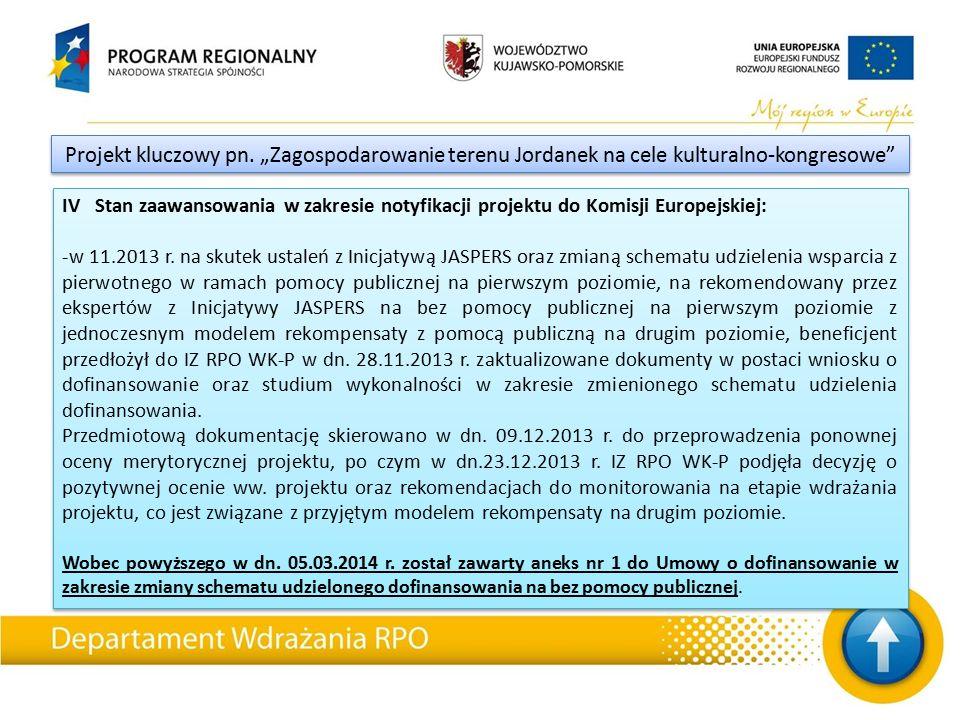 IV Stan zaawansowania w zakresie notyfikacji projektu do Komisji Europejskiej: -w 11.2013 r.
