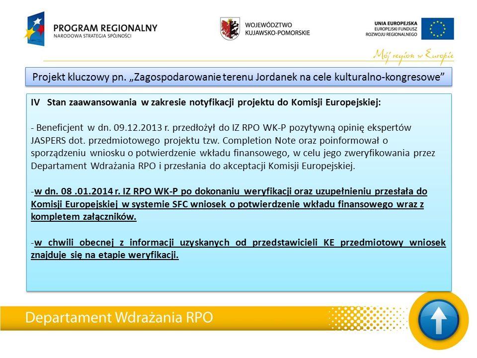 IV Stan zaawansowania w zakresie notyfikacji projektu do Komisji Europejskiej: - Beneficjent w dn.