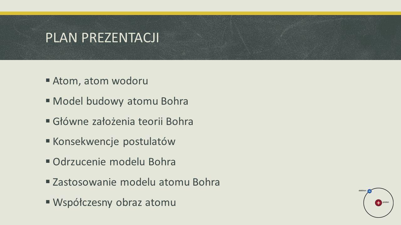 PLAN PREZENTACJI  Atom, atom wodoru  Model budowy atomu Bohra  Główne założenia teorii Bohra  Konsekwencje postulatów  Odrzucenie modelu Bohra  Zastosowanie modelu atomu Bohra  Współczesny obraz atomu