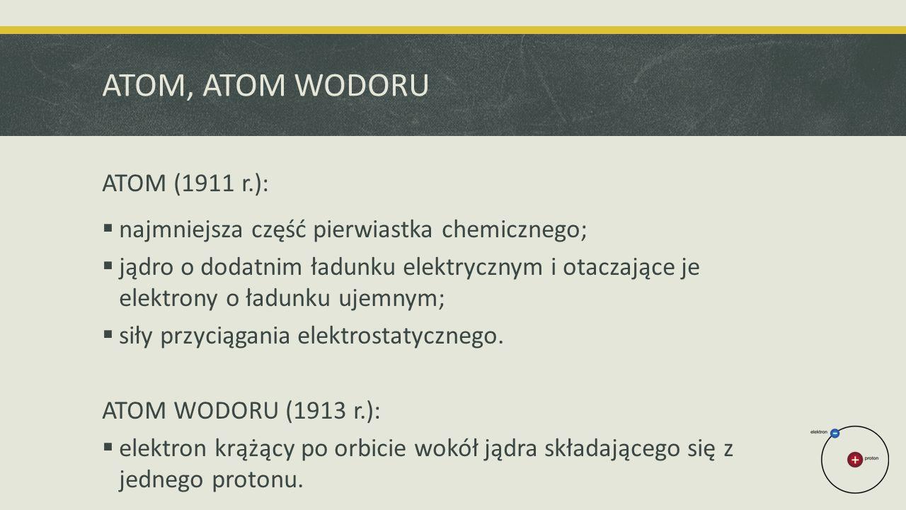 ATOM, ATOM WODORU ATOM (1911 r.):  najmniejsza część pierwiastka chemicznego;  jądro o dodatnim ładunku elektrycznym i otaczające je elektrony o ładunku ujemnym;  siły przyciągania elektrostatycznego.
