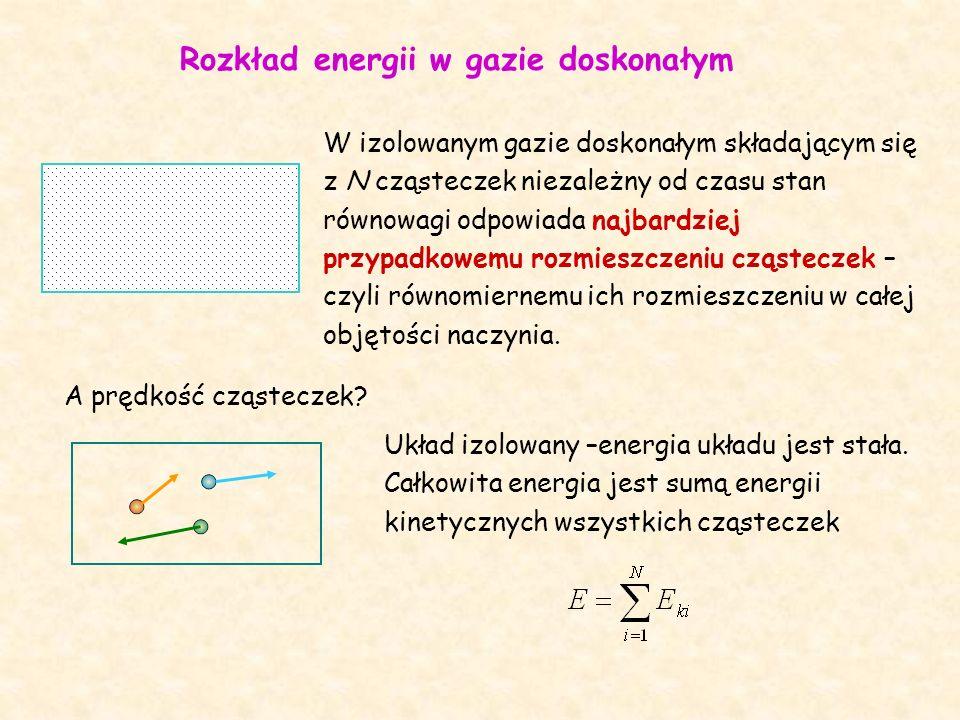 Rozkład energii w gazie doskonałym W izolowanym gazie doskonałym składającym się z N cząsteczek niezależny od czasu stan równowagi odpowiada najbardziej przypadkowemu rozmieszczeniu cząsteczek – czyli równomiernemu ich rozmieszczeniu w całej objętości naczynia.