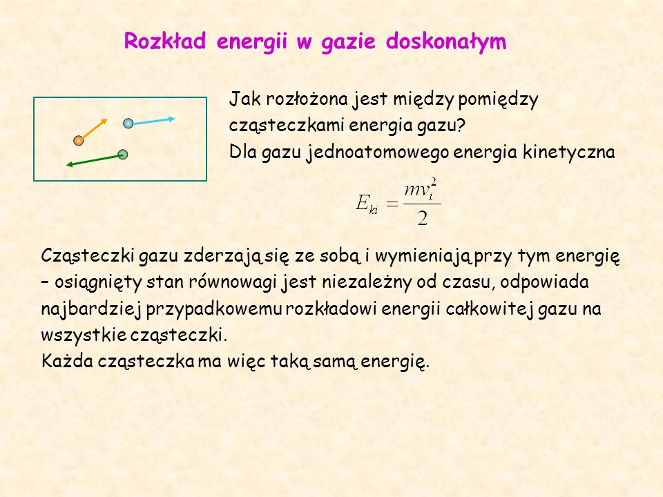Rozkład energii w gazie doskonałym Jak rozłożona jest między pomiędzy cząsteczkami energia gazu.