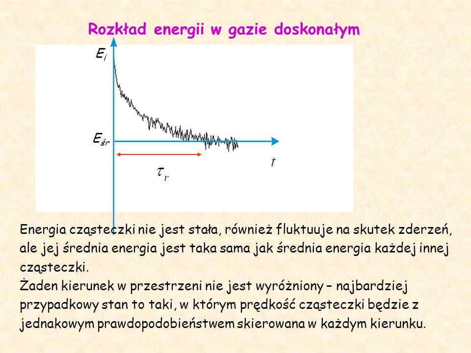 Rozkład energii w gazie doskonałym EiEi E śr Energia cząsteczki nie jest stała, również fluktuuje na skutek zderzeń, ale jej średnia energia jest taka sama jak średnia energia każdej innej cząsteczki.