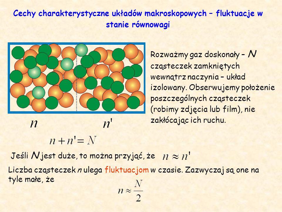 Jeśli N jest duże, to można przyjąć, że Liczba cząsteczek n ulega fluktuacjom w czasie.