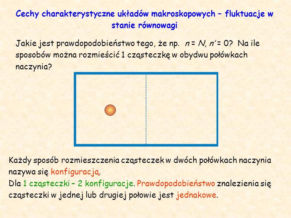 Różne sposoby rozmieszczenia 2 cząsteczek w połówkach naczynia 2 cząsteczki – 4 konfiguracje 2·2 = 2 2 = 4 Cechy charakterystyczne układów makroskopowych – fluktuacje w stanie równowagi
