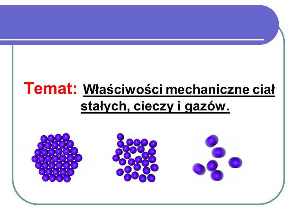 Temat: Właściwości mechaniczne ciał stałych, cieczy i gazów.