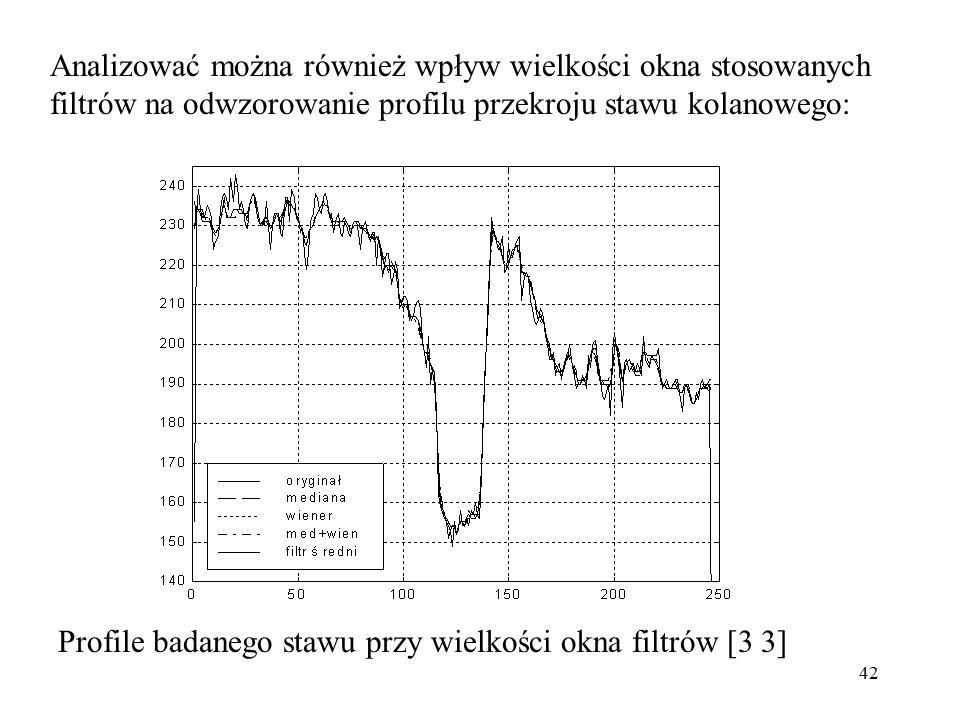 42 Analizować można również wpływ wielkości okna stosowanych filtrów na odwzorowanie profilu przekroju stawu kolanowego: Profile badanego stawu przy wielkości okna filtrów [3 3]