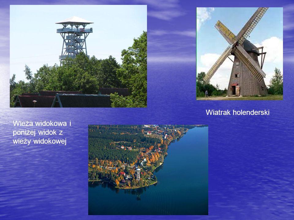 Wiatrak holenderski Wieża widokowa i poniżej widok z wieży widokowej