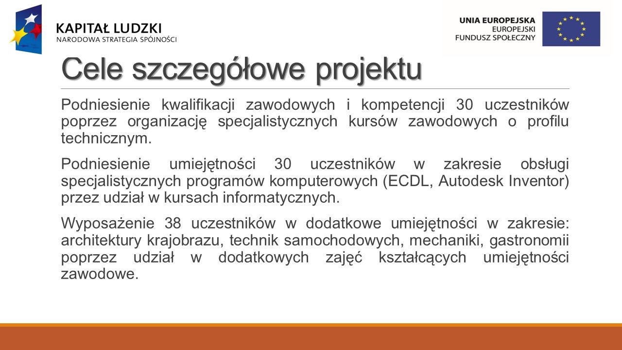 Cele szczegółowe projektu Podniesienie kwalifikacji zawodowych i kompetencji 30 uczestników poprzez organizację specjalistycznych kursów zawodowych o profilu technicznym.