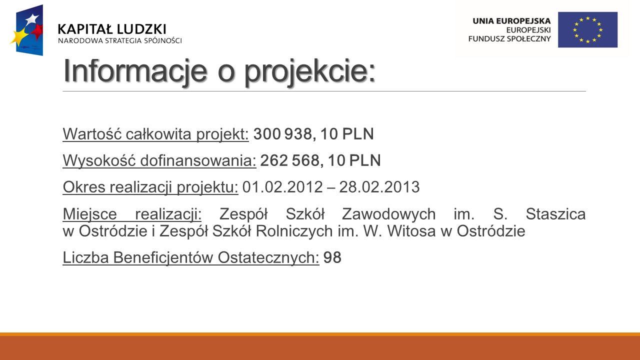 Efekty realizacji projektu: Wskaźniki miękkie Zespół Szkół Zawodowych im.
