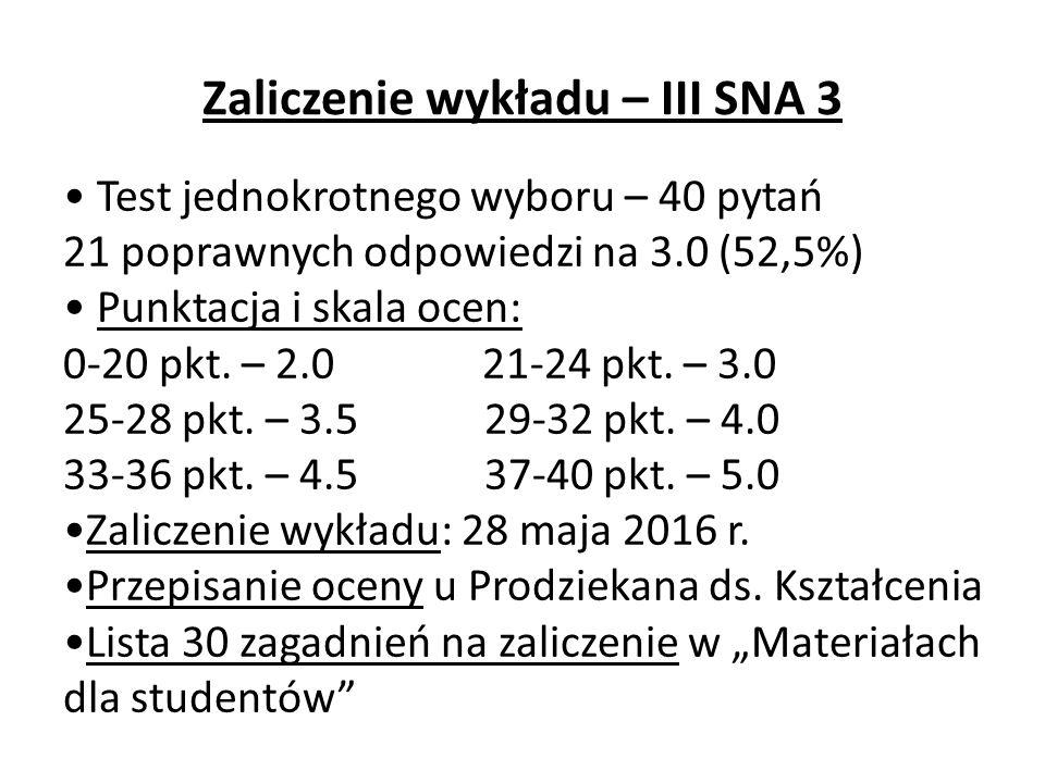 Zaliczenie wykładu – III SNA 3 Test jednokrotnego wyboru – 40 pytań 21 poprawnych odpowiedzi na 3.0 (52,5%) Punktacja i skala ocen: 0-20 pkt.