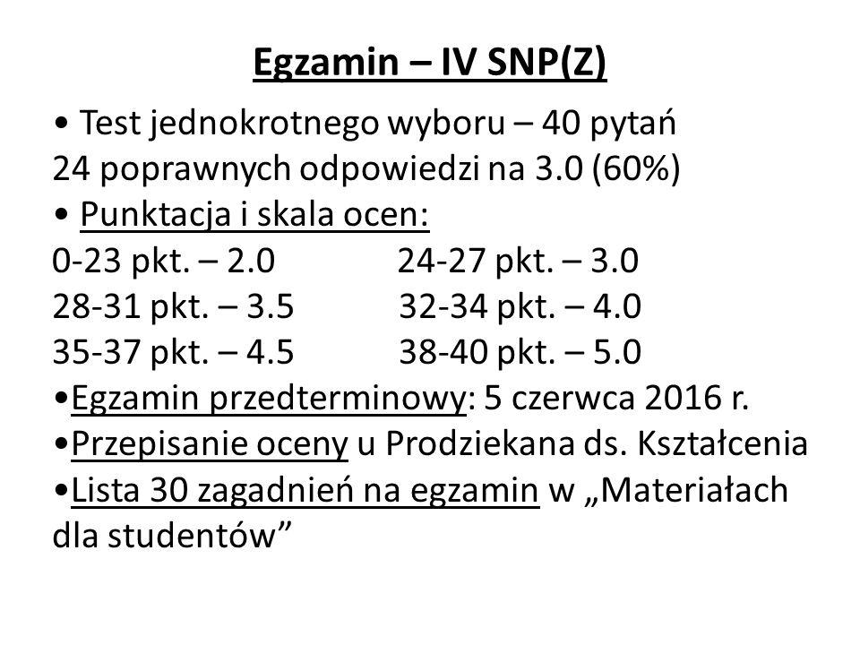 Egzamin – IV SNP(Z) Test jednokrotnego wyboru – 40 pytań 24 poprawnych odpowiedzi na 3.0 (60%) Punktacja i skala ocen: 0-23 pkt.