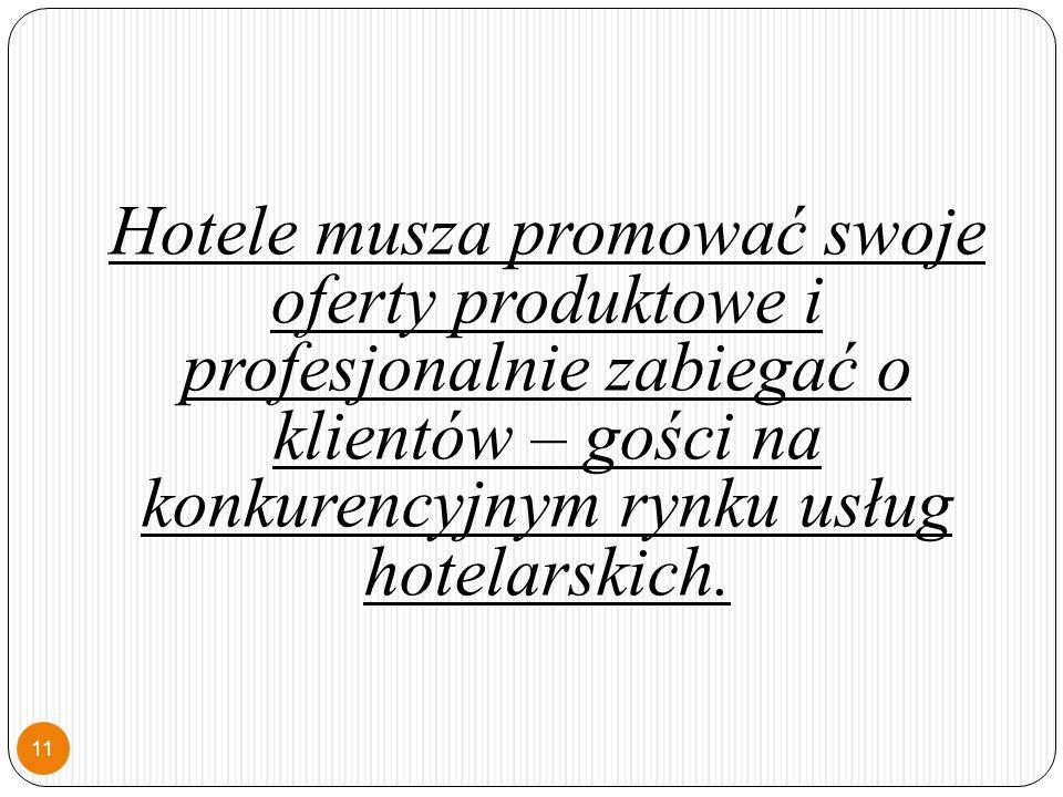 Hotele musza promować swoje oferty produktowe i profesjonalnie zabiegać o klientów – gości na konkurencyjnym rynku usług hotelarskich.