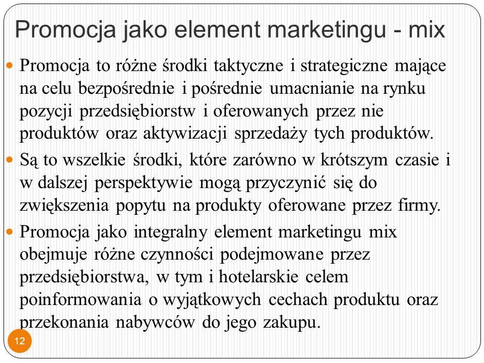 Promocja jako element marketingu - mix Promocja to różne środki taktyczne i strategiczne mające na celu bezpośrednie i pośrednie umacnianie na rynku pozycji przedsiębiorstw i oferowanych przez nie produktów oraz aktywizacji sprzedaży tych produktów.